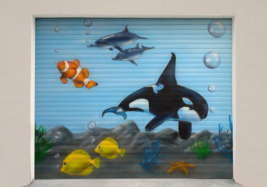 Garagentor Graffiti – Aquarium