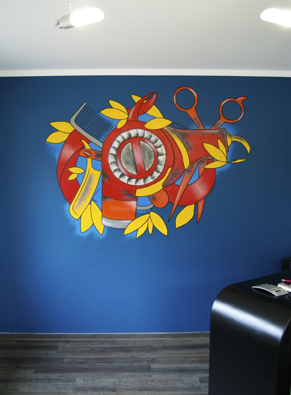 Wandgestaltung – Friseur Salon Haar Werkstatt
