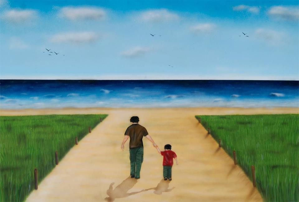 Graffiti Leinwand Nordsee Strand mit Vater und Sohn