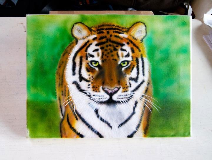 Graffiti - Airbrush Leinwand Tiger
