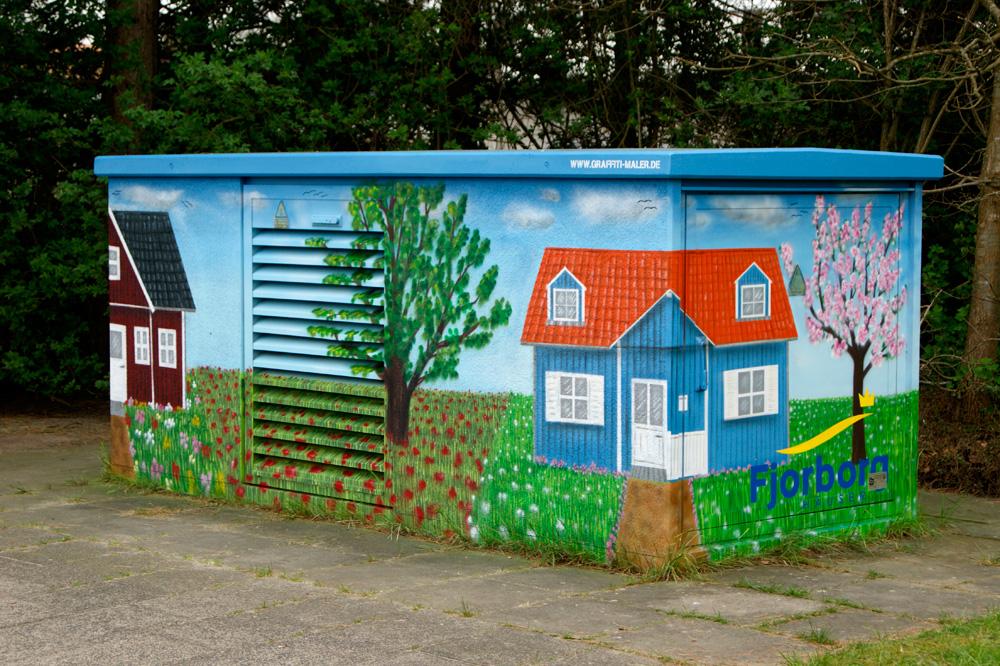 Graffiti Auftrag Stromkasten Fjorborg Häuser Flensburg