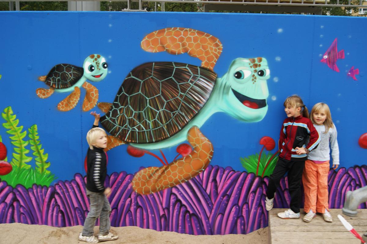 Graffiti Auftrag Spielplatz für die Stadt Flensburg
