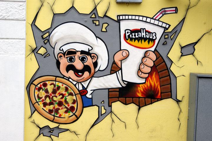 Graffiti Auftrag Pizza Haus Wanderup