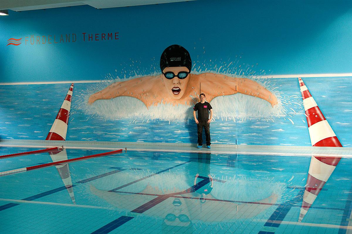 Graffiti Auftrag für Schwimmbad Fördeland Therme Glücksburg.