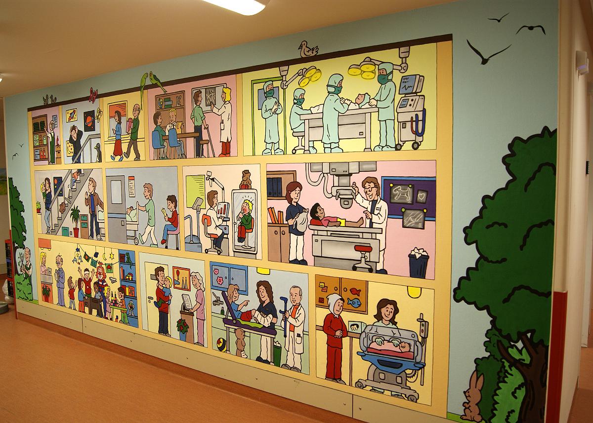 Graffiti Auftrag – Wimmelbilderbuch Wandbild in der Diako Kinderklinik Flensburg