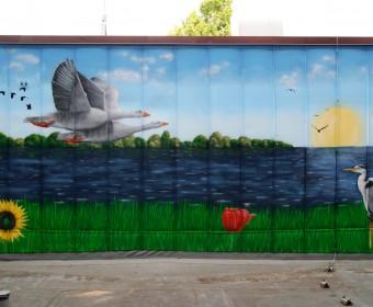 Graffiti Auftrag Diako Flensburg Wasserlandschaft und Tiere