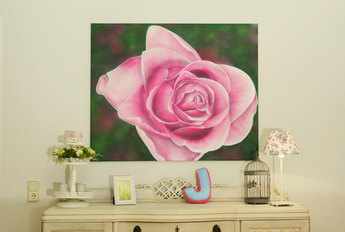 Wohnzimmer Leinwand – Rose