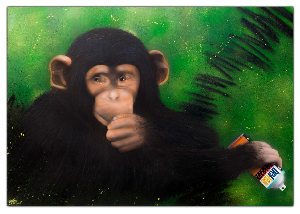 Leinwand - Graffiti Streetart - Airbrush - Schimpanse