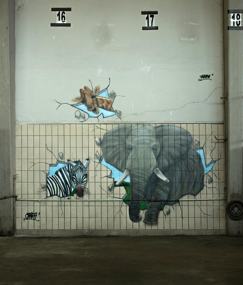 Wandgestaltung – Graffiti – Fassadengestaltung Tiere in der Stadt