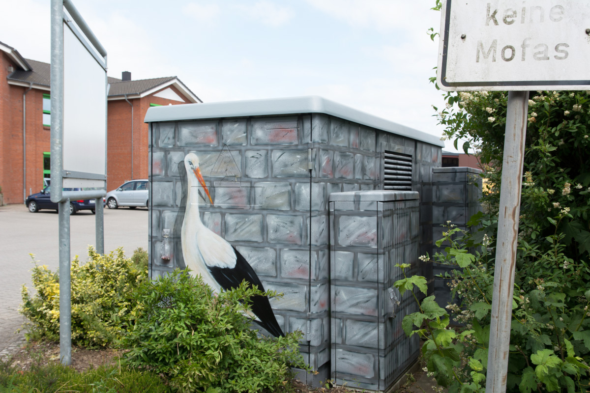 Graffit auf Stromkasten. Illusionsmalerei.