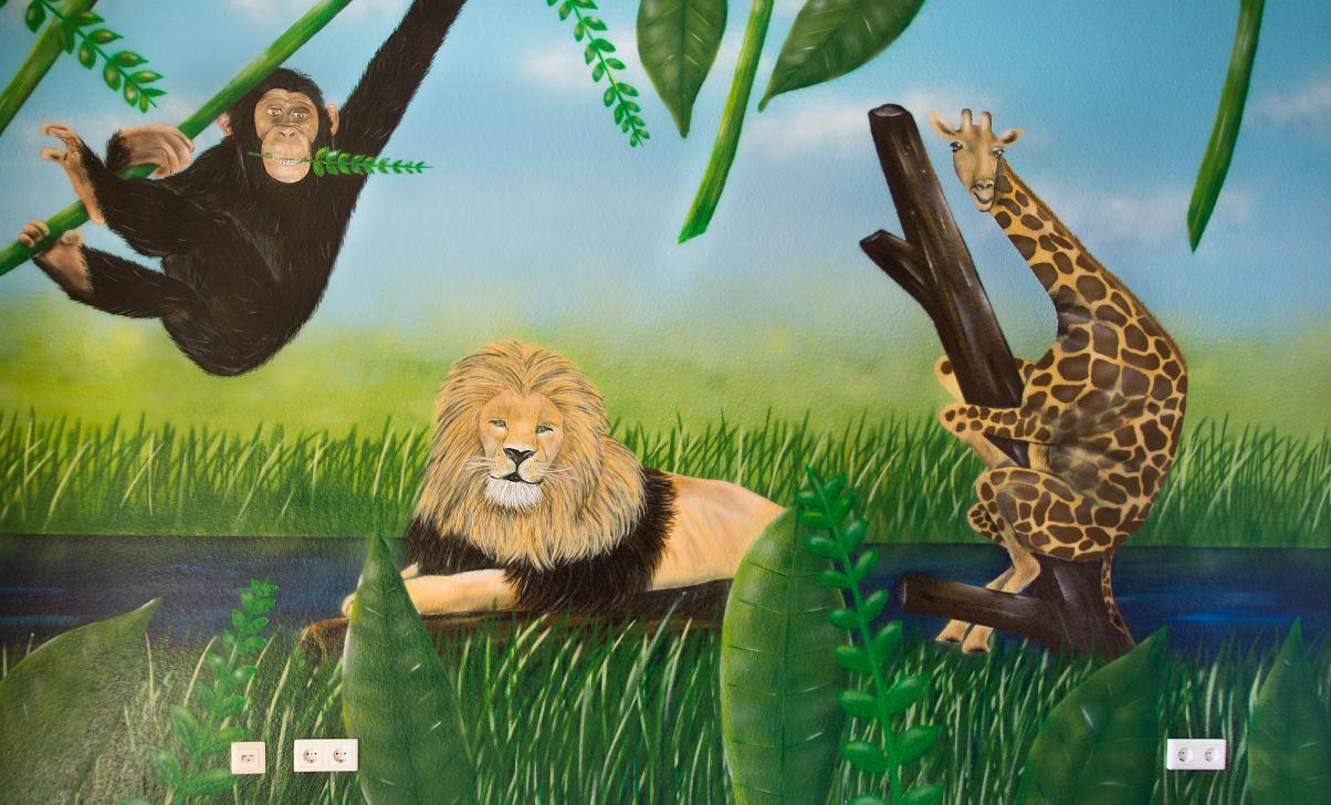 Graffiti Wandgestaltung / Wandmalerei - Dschungel