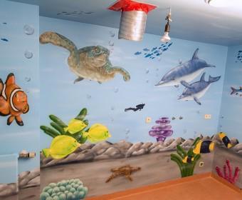 Wandmalerei Graffiti Aquarium Maler Krankenhaus Kinder