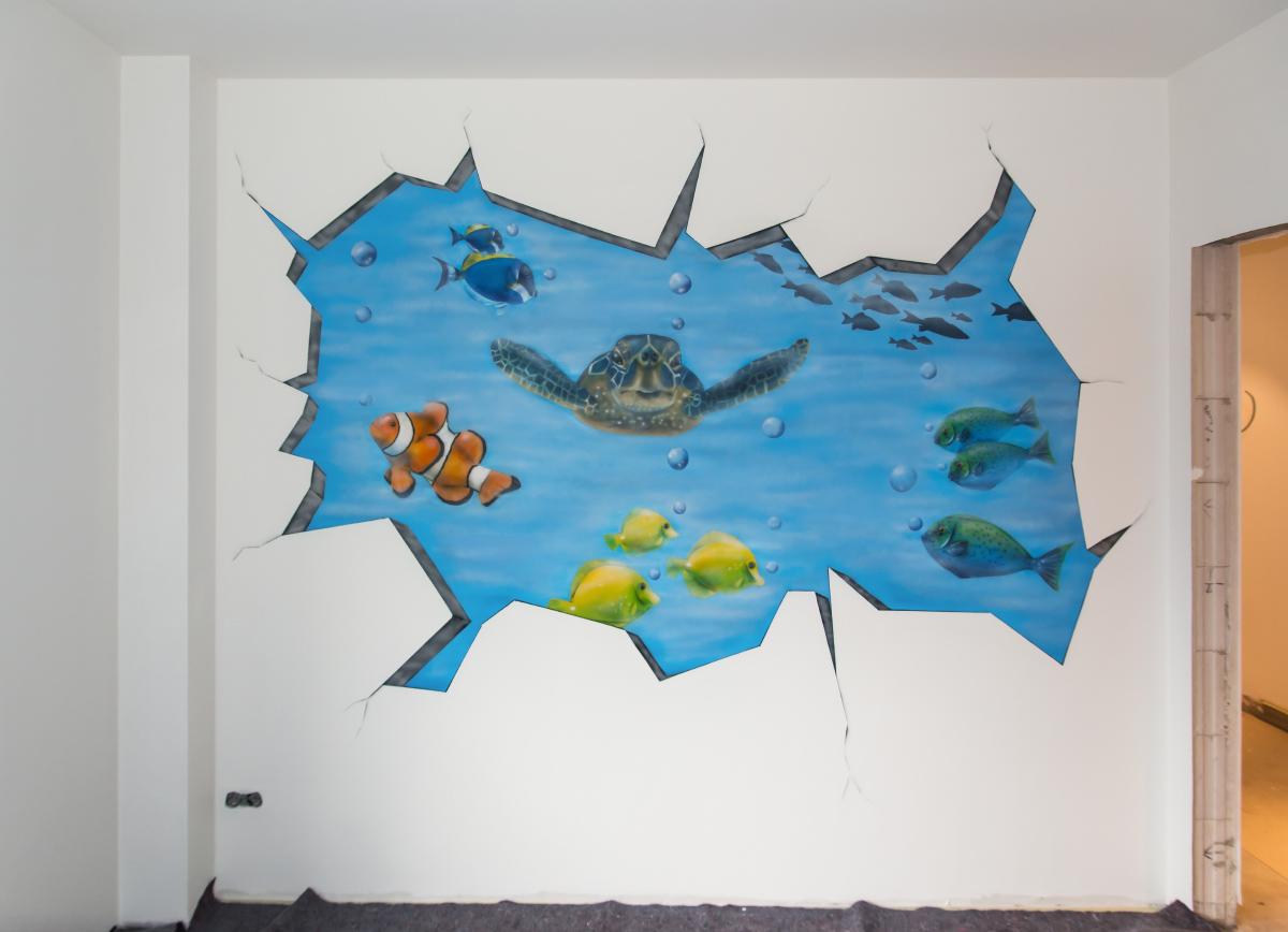 Zahnarzt Wandgestaltung - Graffiti Aquarium Wandbild