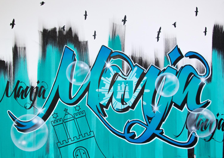 Künstlerische Leinwandgestaltung Graffiti