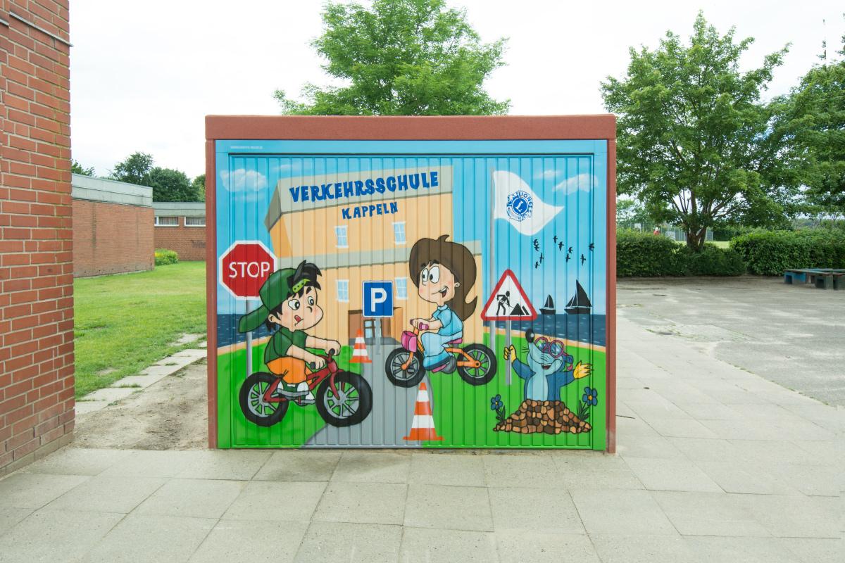Garagentor Graffiti für Lions Club Kappeln – Verkehrsschule