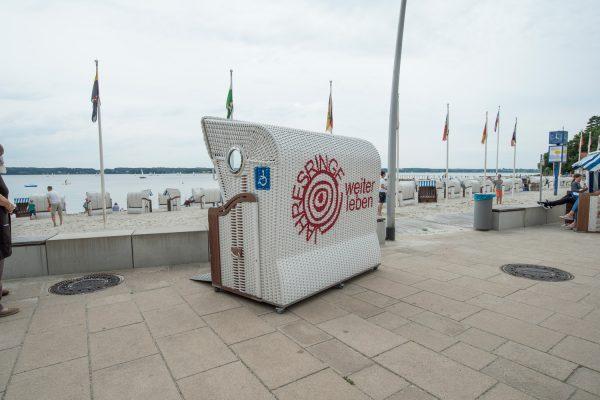 Graffiti auf Strandkorb