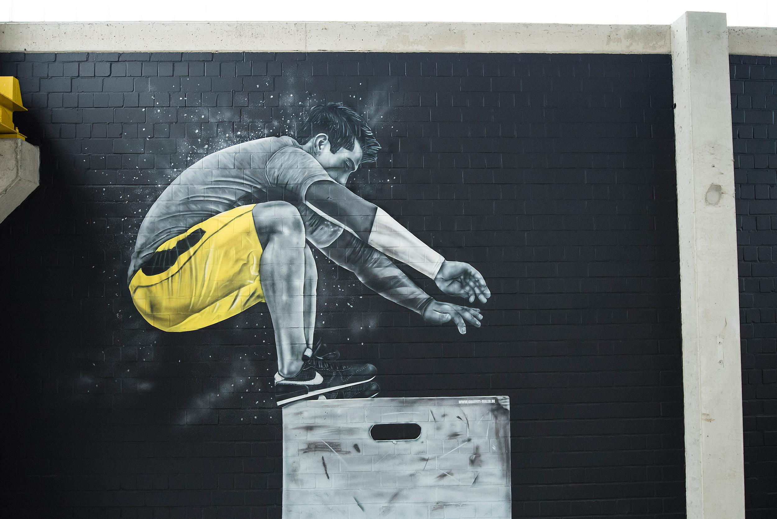 Graffiti Wandgestaltung im Fitness Studio