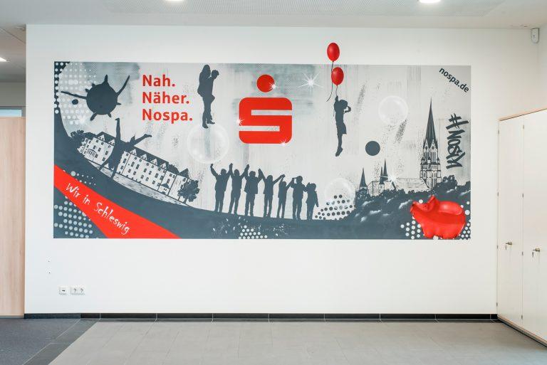 Künstlersiche Wandgestaltung in Schleswig für Nord-Ostsee Sparkasse