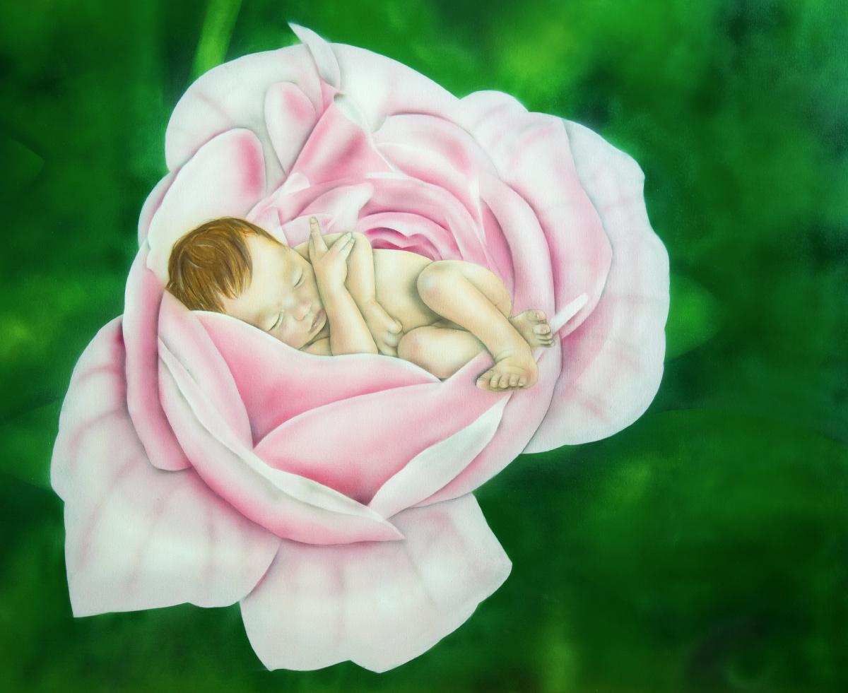 Graffiti Leinwandgestaltung Babyfoto
