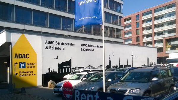 Fassadengestaltung Graffiti – Fassadenbeschriftung für ADAC Hamburg