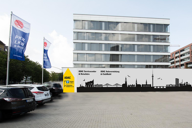 Fassadenbeschriftung Graffiti ADAC
