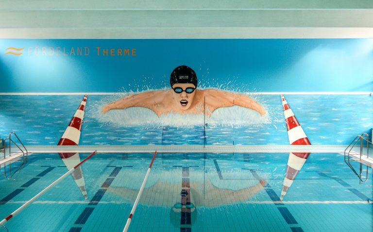Graffiti Wandbild für Schwimmbad Fördelandtherme