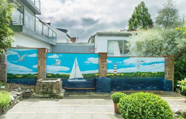 Graffiti Mauer mit Ostsee Motiv