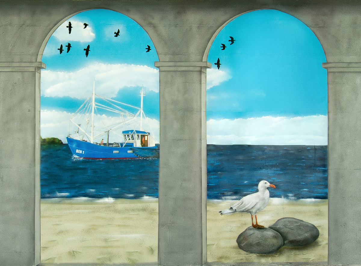 Strandkorb gemalt  Graffiti Auftrag Wandgestaltung - Illusionsmalerei mit Säulen