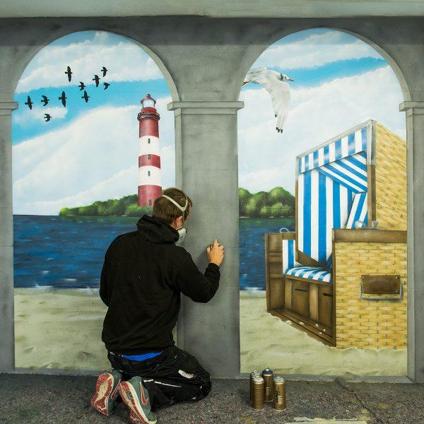 Graffiti Auftrag Wandgestaltung –  Illusionsmalerei mit Säulen