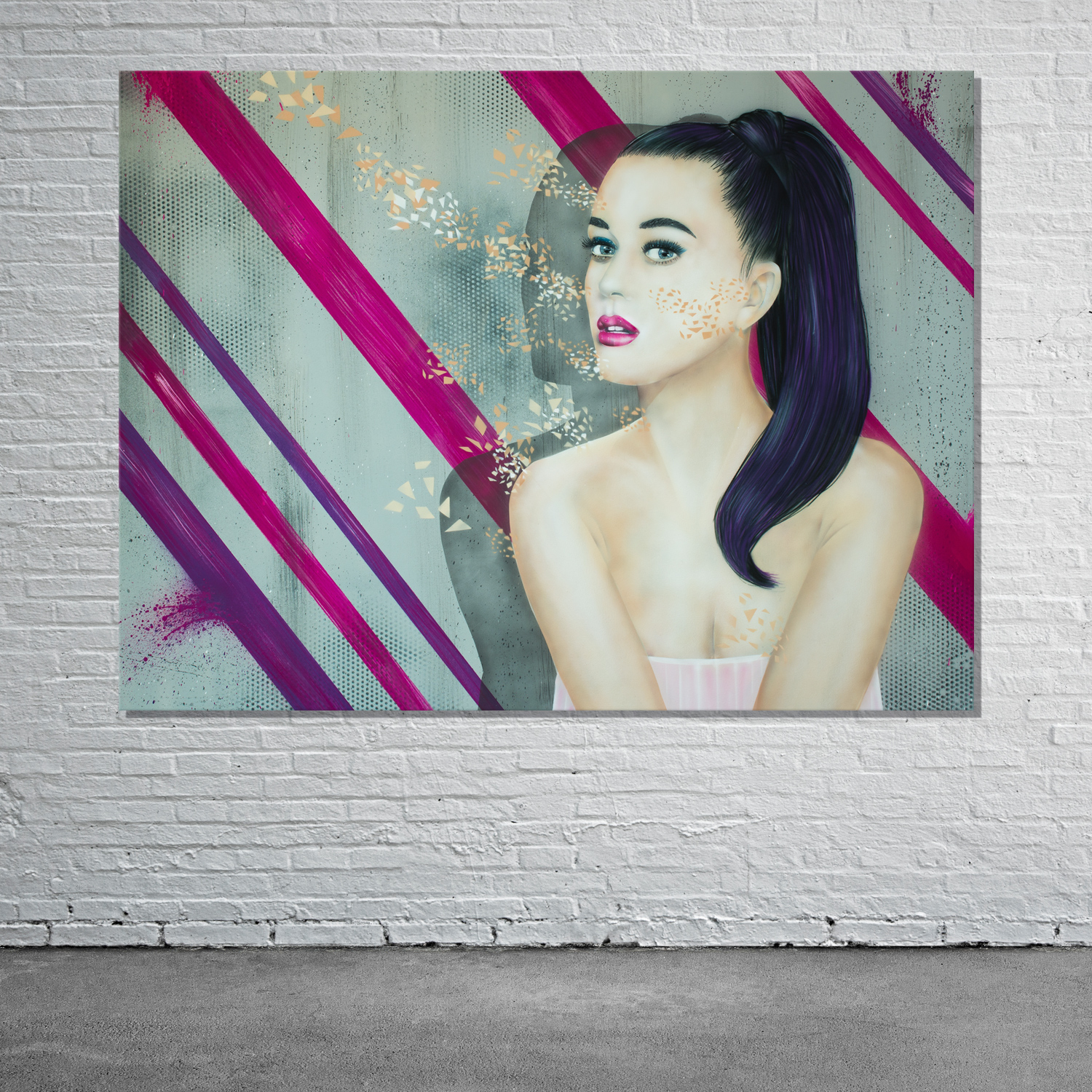 graffiti katy perry leinwand oder andere musiker wir. Black Bedroom Furniture Sets. Home Design Ideas