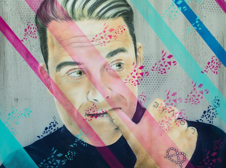 Robbie Williams Leinwand im Graffiti Stil