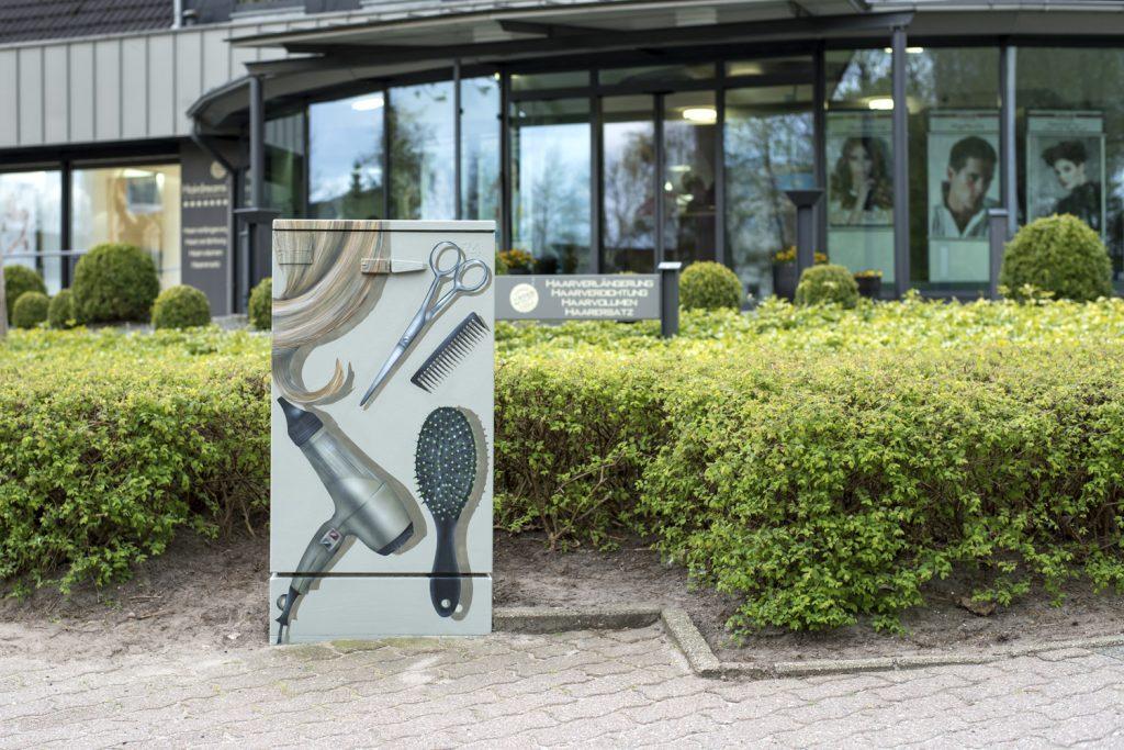 Stromkasten Kunst - Graffiti für Friseur Salon Hanemann
