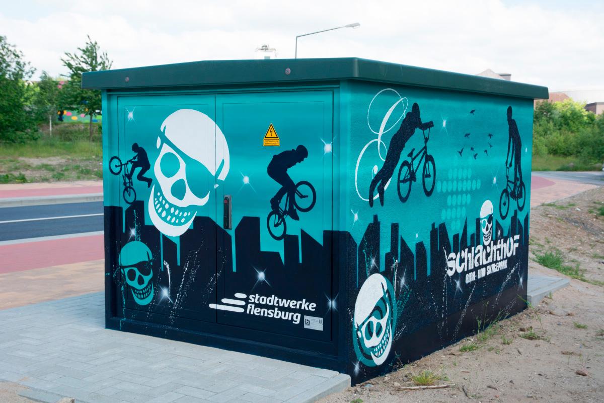 Stromkasten für Stadtwerke Flensburg - Graffiti für Sportpiraten