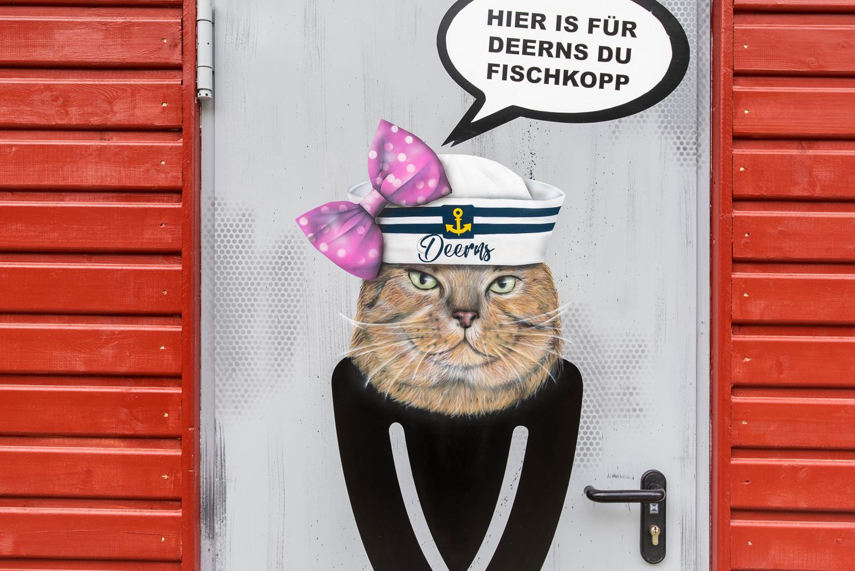 Graffiti auf Klotüren – Für Fischer Flensburger Hafen