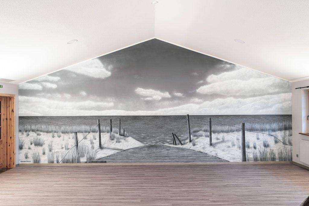 karibik graffiti in beachhalle palmen strand und meer. Black Bedroom Furniture Sets. Home Design Ideas