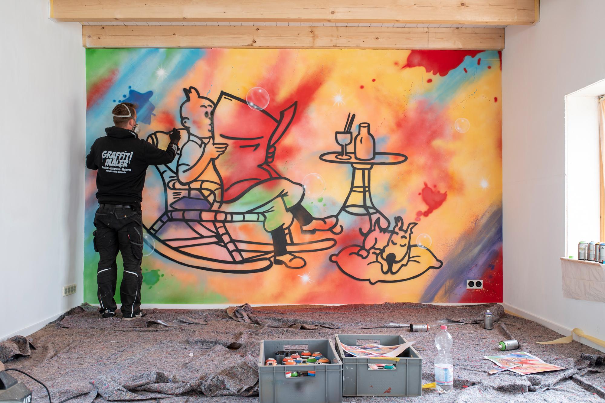 Tim und Struppi Graffiti Kunst in Hamburg