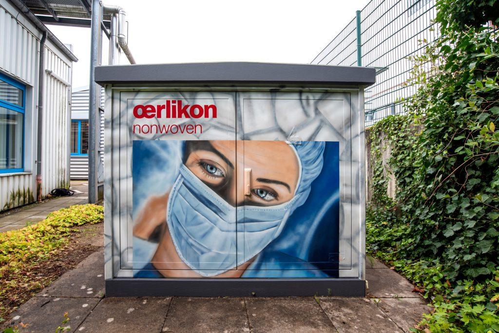 Graffiti für Oerlikon Neumünster auf einer Trafostation