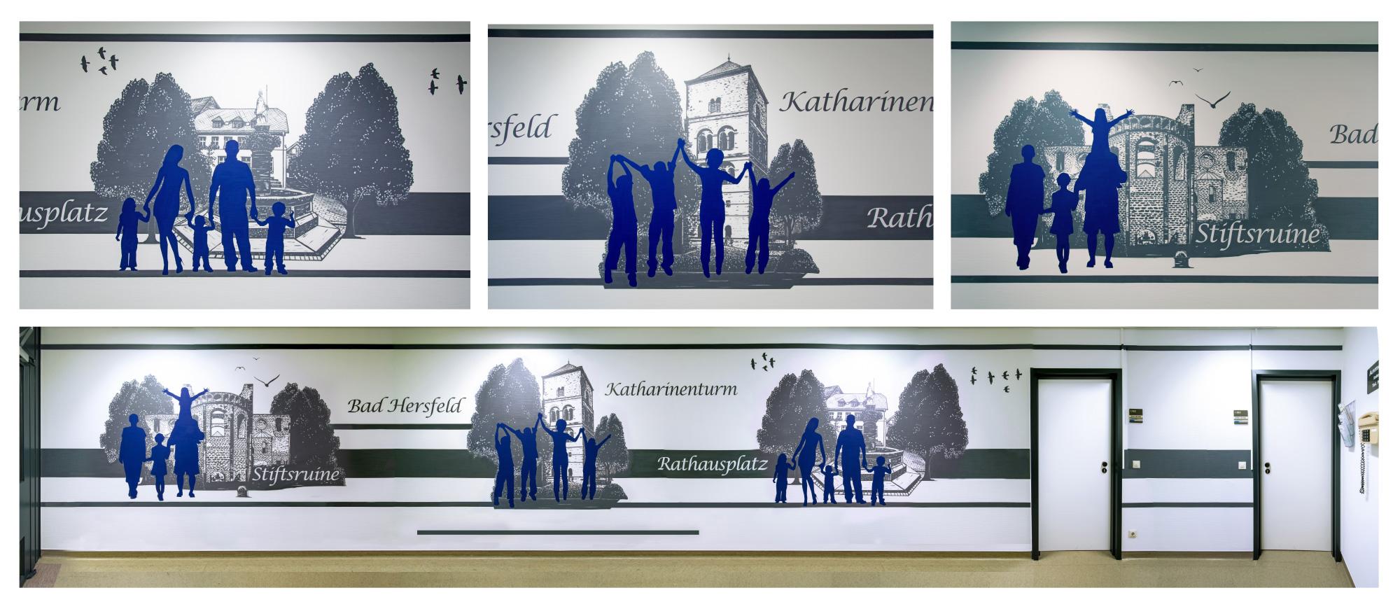 Kunst Wandmalerei im Krankenhaus Klinikum Bad Hersfeld Graffiti-Maler Sven Schmidt