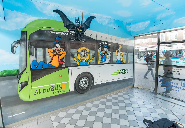 Graffiti Maler Wandbild ZOB Flensburg Aktiv Bus