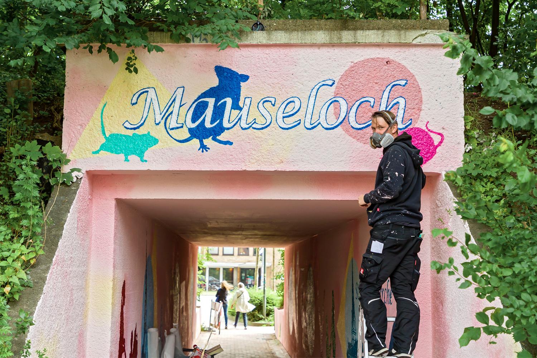 Graffiti Künstler Mauseloch Flensburg Foto: Lars Salomonsen/BorderPress.dk
