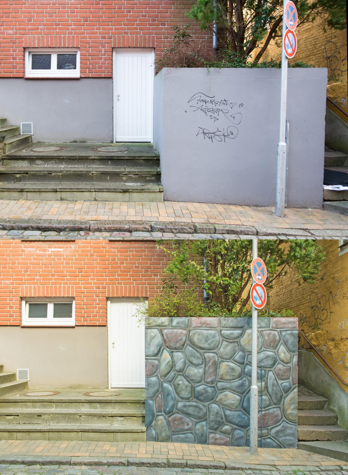 Illusionsmalere_-Graffiti_-Steinmauer_Hamburg_vorher_nachher