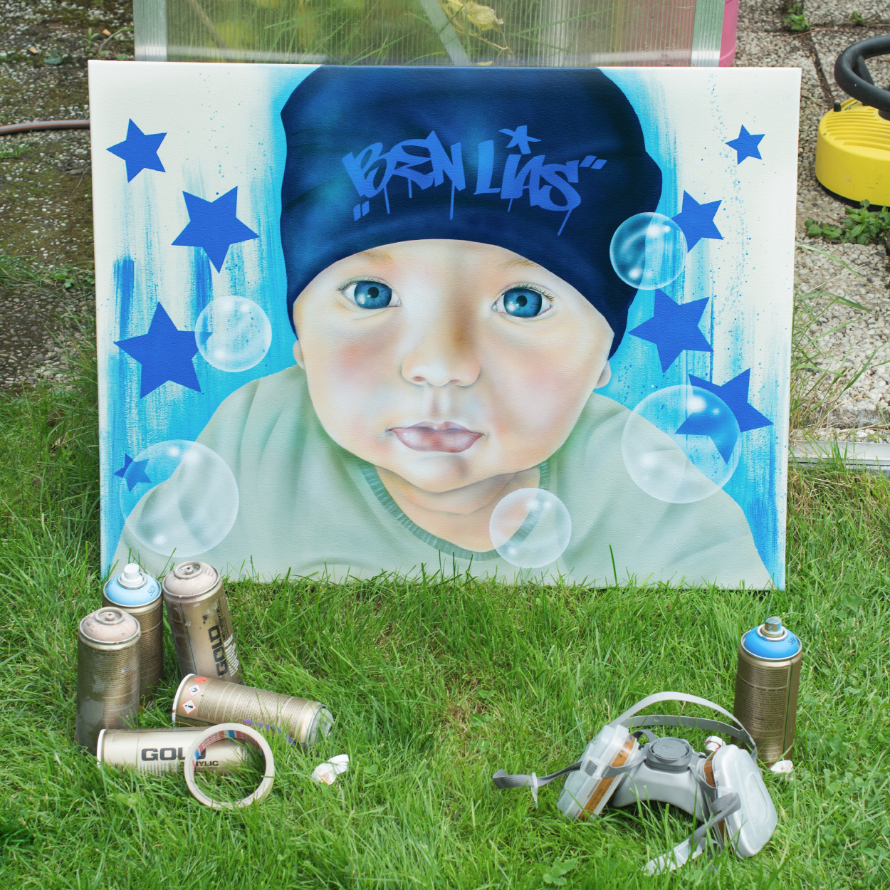 graffiti leinwand baby potrait graffiti maler. Black Bedroom Furniture Sets. Home Design Ideas