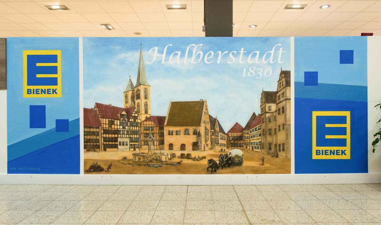 Wandmalerei Graffiti Wandgestaltung Edeka Halberstadt Landengestaltung