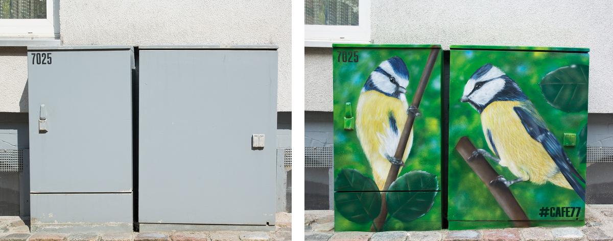 Stromfarben Kunst Flensburg Stromkasten Graffiti