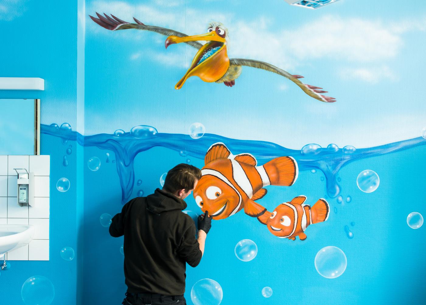 Wandgestaltung Graffiti Airbrush Kinderkrankenhaus