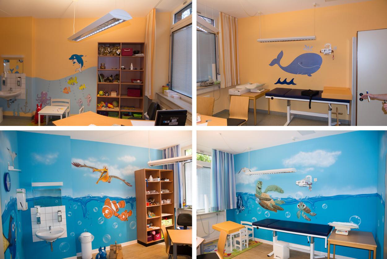 Kunst im Krankenhaus Vorher Nacher